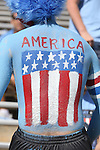 04 October 2014: UNC fan sports an American flag on his back on Military Appreciation Day. The University of North Carolina Tar Heels hosted the Virginia Tech Hokies at Kenan Memorial Stadium in Chapel Hill, North Carolina in a 2014 NCAA Division I College Football game.