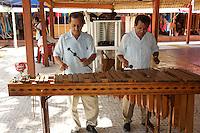 Marimba players in Mercado 28 souvenirs and handicrafts market in  Cancun, Mexico      .   .
