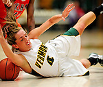 13 December 2009: University of Vermont Catamounts' guard May Kotsopoulos, a Senior from Waterloo, Ontario, is fouled during game action against the Oklahoma State University Cowgirls at Patrick Gymnasium in Burlington, Vermont. The Lady Cats were unable to hold onto a second half lead, falling to the Cowgirls 68-63. Mandatory Credit: Ed Wolfstein Photo