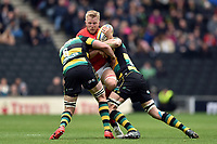 Jackson Wray of Saracens is double-tackled. Aviva Premiership match, between Northampton Saints and Saracens on April 16, 2017 at Stadium mk in Milton Keynes, England. Photo by: Patrick Khachfe / JMP