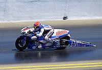 Jul. 28, 2013; Sonoma, CA, USA: NHRA pro stock motorcycle rider Hector Arana Jr during the Sonoma Nationals at Sonoma Raceway. Mandatory Credit: Mark J. Rebilas-