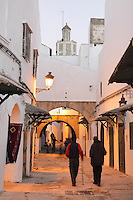 A narrow street with closed shops in the medina or old town with the minaret of the 18th century Zaouiat Sidi ali Benraisoun or Octagonal Mosque above, Tetouan, on the slopes of Jbel Dersa in the Rif Mountains of Northern Morocco. Tetouan was of particular importance in the Islamic period from the 8th century, when it served as the main point of contact between Morocco and Andalusia. After the Reconquest, the town was rebuilt by Andalusian refugees who had been expelled by the Spanish. The medina of Tetouan dates to the 16th century and was declared a UNESCO World Heritage Site in 1997. Picture by Manuel Cohen