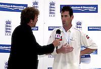 Photo Peter Spurrier.31/08/2002.Cheltenham & Gloucester Trophy Final - Lords.Somerset C.C vs YorkshireC.C..Channel four commentator, Dermot Reeve, interviews man of the match. Matt Elliott