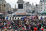 """Good Friday, Passion Play """"Passion in the Square"""" Trafalgar Square thousands gather to watch annual performance by the Wintershall Players. London UK. James Burke-Dunsmore play the lead role in the play """"The Passion of Jesus"""". 29th March 2013."""