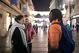 Ibrahim visits downtown Belgrade regularely. Often he spends time with his friends in cafes or walking the streets and enjoying when the weather is not as cold as in wintertime. He is aware of curious glances he gets from passers-by from time to time, which happens more often when he goes to visits outside of Belgrade.  During the walk in the main pedestrian area of Belgrade, Knez Mihailova street, Ibrahim met a girl-friend whome he knows from the caffe they used to visit.