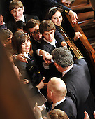 Washington, DC - March 4, 2009 -- The Right Honorable Gordon Brown, M.P., Prime Minister of the United Kingdom, greets House Pages as he departs the chamber after delivering an address to a Joint Session of the U.S. Congress in the U.S. Capitol in Washington, D.C. on Wednesday, March 4, 2009..Credit: Ron Sachs / CNP