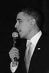 President Obama takes the mike at the DNC Winter Meetings in February 2010