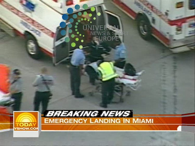 A Continental Airlines flight with a reported 26 injured passengers on board made an emergency landing at Miami International Airport Monday morning..Three passengers were transported to Jackson Memorial Hospital with possible serious injuries..Flight 128 from Rio de Janeiro to Houston landed in Miami at 5:44 a.m. due to the injuries. It sat at Gate J of the airport..Miami-Dade Fire Rescue responded to the scene, and was treating many passengers at the scene..(Universal News does not claim any Copyright or License in the attached material. Any downloading fee charged by Universal News and Sport is for Universal News services only. We are advised that videograbs should not be used more than 48 hours after the time of original transmission, without the consent of the copyright holder). Picture: NBC/Universal News And Sport (Scotland) 3 August 2009.