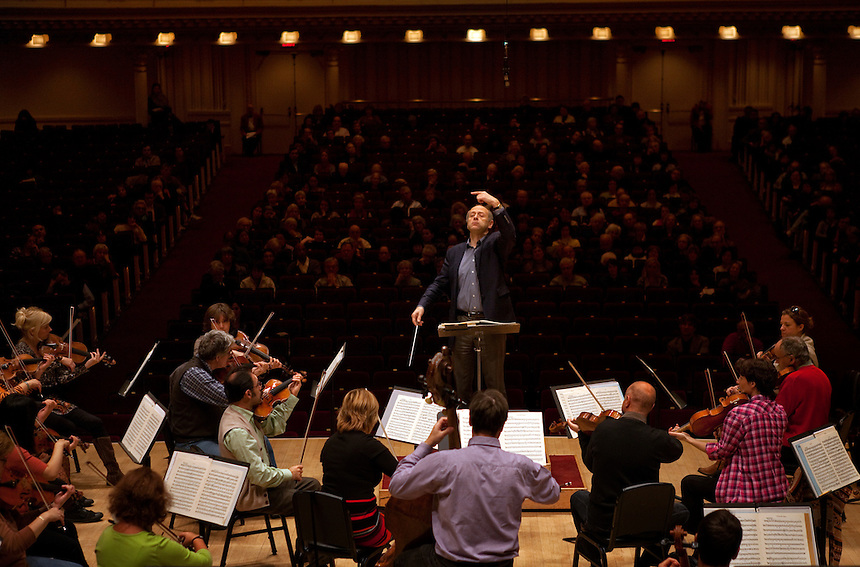 Music Director and Conductor Ivan Fischer during rehearsal with the Budapest Festival Orchestra in preparation for the evening's concert at Carnegie Hall in Manhattan, NY on October 28, 2011.