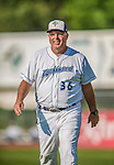 1 September 2013: Vermont Lake Monsters Pitching Coach Craig Lefferts heads to the dugout prior to a game against the Connecticut Tigers at Centennial Field in Burlington, Vermont. The Lake Monsters fell to the Tigers 6-4 in 10 innings of NY Penn League action. Mandatory Credit: Ed Wolfstein Photo *** RAW Image File Available ****