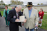 Warren Motts, left, and Ed Arthur during the rededication ceremony of the 1st Squadron, 9th Cavalry monument at Motts Military Museum in Groveport, Ohio.