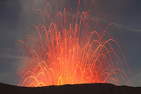 Strombolian eruption of Mount Bromo Volcano, Tengger Caldera, Java, Indonesia.