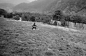 Caucasus Mountains, Georgia<br /> September 30, 1993<br /> <br /> Georgian refugees fleeing the fighting in Sukhumi walk days through the mountains without food and shelter to reach safety in Georgian held territory.