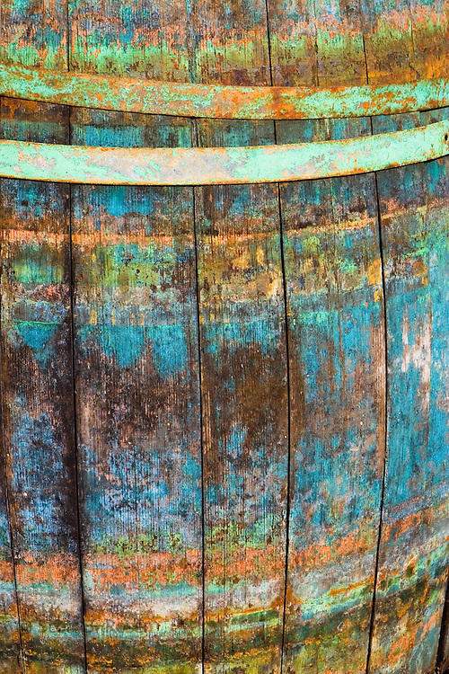 Close-up of old barrel, Hvar Town, Hvar Island, Croatia
