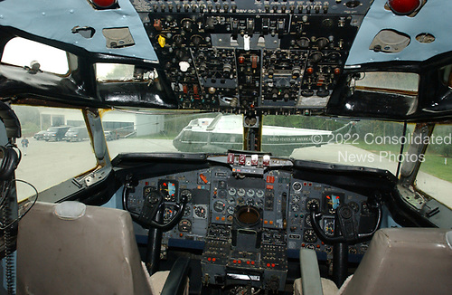 View from the cockpit of the surplus Boeing 707 to simulate Air Force One at the Simulated Airport Facility at the James J. Rowley Training Center in Beltsville, Maryland on April 19, 2002.  The classroom building is at left and the Siskorsky CH-5 surplus helicopter, painted to look like Marine One is at center.<br /> Credit: Ron Sachs / CNP
