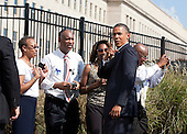 United States President Barack Obama speaks with families of victims of the 9-11 attacks during a remembrance ceremony at the Pentagon in Washington, DC, on Sunday, September 11, 2011..Credit: Joshua Roberts / Pool via CNP