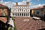 Piazza Vecchia in Bergamo, Italy as seen from above with Biblioteca Angelo Mai at the far end