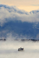 Lone Lobster Boat in Sea Smoke  #S9