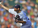 29 September 2012: Minnesota Twins pitcher P.J. Walters in action against the Detroit Tigers at Target Field in Minneapolis, MN. The Tigers defeated the Twins 6-4 in the second game of their 3-game series. Mandatory Credit: Ed Wolfstein Photo