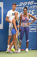 FLUSHING NY- AUGUST 27: Monica Puig, Juan Martin Del Potro and Venus Williams attend Arthur Ashe kids day at the USTA Billie Jean King National Tennis Center on August 27, 2016 in Flushing Queens. Photo MPi04 / MediaPunch