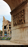 Arch of Constantine 315 AD Inner Frieze and Colosseum Via Triumphalis Rome