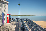 Traverse City Park bench, beach and Lake Michigan. East Arm Bay.