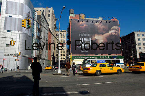 A Calvin Klein billboard in Soho in NYC on October 21, 2006.  Klein's advertisements use sex and provocative images to test society's cultural and moral boundries. (© Richard B. Levine)