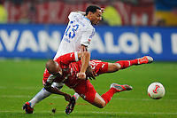 Football: Germany, 1. Bundesliga.Fortuna Duesseldorf - FC Schalke 04.Jermaine JONES (S04) - Dani SCHAHIN.?Ǭ© pixathlon