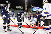 Michael Flynn (Trinity - 7), Will Gray (Trinity - 19), Zach Hillard (Williams) - The Williams College Ephs defeated the Trinity College Bantams 4-2 (EN) on Tuesday, January 7, 2014, at Fenway Park in Boston, Massachusetts.