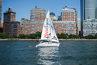 A sailboat sponsored by Coors Light beer in a regatta on the Hudson River in New York on Saturday, June 25, 2016. (© Richard B. Levine)