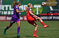 Portland, OR - Saturday April 15, 2017:  Lindsey Horan and Dani Weatherholt during a regular season National Women's Soccer League (NWSL) match between the Portland Thorns FC and the Orlando Pride at Providence Park.