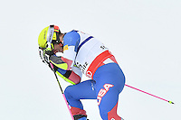 February 17, 2017: Tommy FORD (USA) reacts after missing a gate in the men's giant slalom event at the FIS Alpine World Ski Championships at St Moritz, Switzerland. Photo Sydney Low