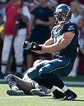Seattle Seahawks defensive end Patrick Kerney celebrates his sack of Tampa Bay Buccaneers quarterback Jeff Garcia in the second quarter of their season opener at Qwest Field in Seattle on September 9, 2007. (UPI Photo/Jim Bryant).