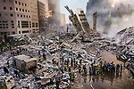 00148_ 17; USA; 09/11/2001, USA-10529NF2<br /> <br /> Work crews begin to clear the mountain of wreckage from the collapse of the World Trade Center's Twin Towers, New York, NY, USA, September, 2001.