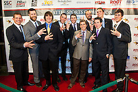 Members of the 2010-11 University of Washington crew team, nominees for the 2011 Sports Story of the Year,  pose on the red carpet at the 77th Annual Sports Star of the Year, presented by ROOT SPORTS, at Benaroya Hall in Seattle Wednesday, Jan. 25, 2012. The evening honors Northwest sports stars, carrying on an annual tradition started by Seattle Post-Intelligencer sports editor Royal Brougham in 1936. (Photography by Dan DeLong/Red Box Pictures)