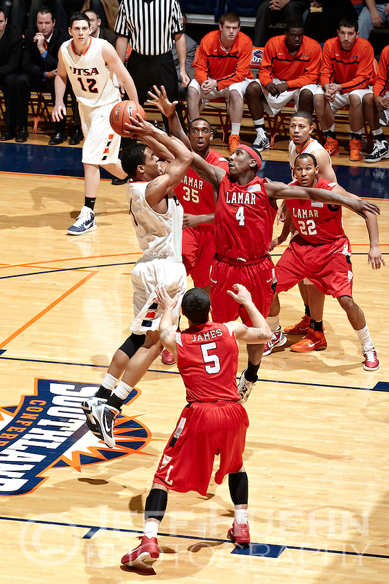 SAN ANTONIO, TX - FEBRUARY 5, 2011: The Lamar University Cardinals vs. the University of Texas at San Antonio Roadrunners Men's Basketball at the UTSA Convocation Center. (Photo by Jeff Huehn)