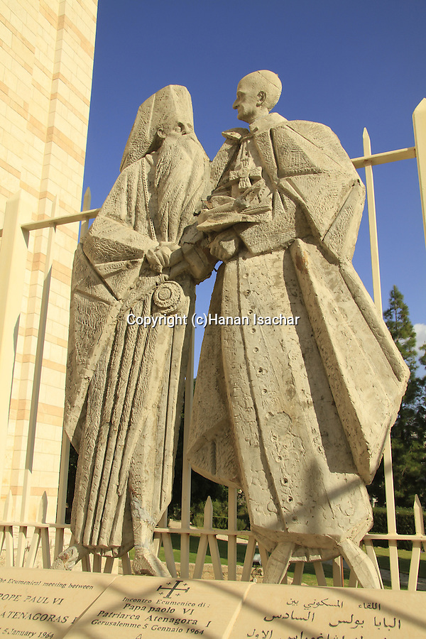 Israel, Lower Galilee, a statue at the Church of the Annunciation in Nazareth depicting the ecumenical meeting between Pope Paul VI and Patriarch Atenagoras I in Jerusalem, 1964