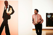 Artist Barkley Hendricks gets an early look at his retrospective exhibit inside the Nasher Museum of Art, Monday, Feb. 4, 2008.