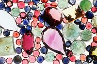 ASSORTMENT OF GEMSTONES<br /> aquamarine (light blue),  ruby &amp; garnet (red), sapphire &amp; tanzanite (blue), emerald (green), tourmaline(pink), citrine (brown) ,amethyst (purple)