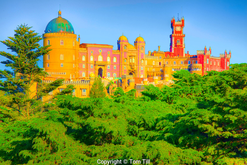 Pena Palace, Pena Park, Sintra World Heritage Site, Portugal Built by queen Dona Maria II in 1800's.