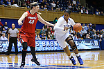 17 December 2015: Duke's Lynee Belton (right) and Liberty's Catherine Kearney (44). The Duke University Blue Devils hosted the Liberty University Flames at Cameron Indoor Stadium in Durham, North Carolina in a 2015-16 NCAA Division I Women's Basketball game. Duke won the game 79-41.