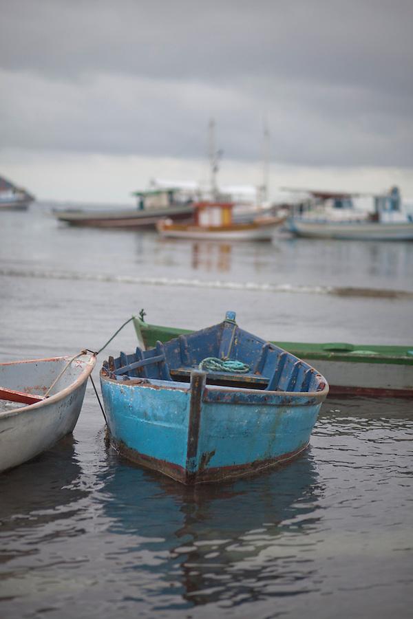 Fishing boats anchored in Buzios Bay at dawn