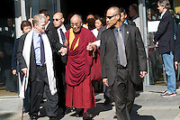 His Holiness, The Dalai Lama, middle, along with a small delegation, go to lunch, during the Vancouver Peace Summit, held at the Chan Center for the Performing Arts, Sept. 27, 2009, at the University of British Columbia in Vancouver. (Scott Alexander/pressphotointl.com)