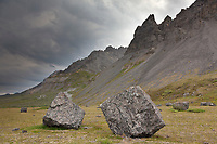 Giant boulder rubble from the Brooks range mountains in the headwaters of the Marsh Fork of the Canning river, bordering the western perimeter of the Arctic National Wildlife Refuge, Alaska.