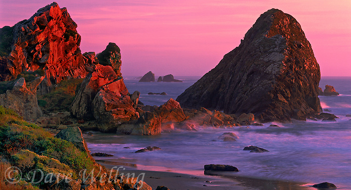 972500002 panoramic view of sea stacks at sunset along harris state beach in southern oregon