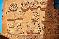Bas Releif sculptures with scenes from the Bible, far left Jonah id swallowed by a whale,  on the outside of the 10th century Armenian Orthodox Cathedral of the Holy Cross on Akdamar Island, Lake Van Turkey 40