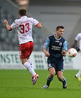 Fussball 2. Bundesliga:  Saison   2012/2013,    14. Spieltag  TSV 1860 Muenchen - 1. FC Koeln  16.11.2012 Matthias Lehmann (li, 1. FC Koeln) gegen Guillermo Vallori (1860 Muenchen)