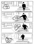 (A large man fends off and flips over a bubble car while crossing the road)