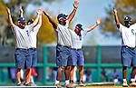5 March 2009: Members of the grounds crew dance to the music of YMCA as they work the infield between innings at Joker Marchant Stadium in Lakeland, Florida. The Detroit Tigers defeated the visiting Washington Nationals 10-2 in the Grapefruit League matchup. Mandatory Photo Credit: Ed Wolfstein Photo