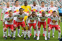 New York Red Bulls starting eleven. NY RedBulls midfielder Joel Lindpere (20)psychs up his teammates. Chivas USA defeated the Red Bulls of New York 2-0 at Home Depot Center stadium in Carson, California April 10, 2010.  .